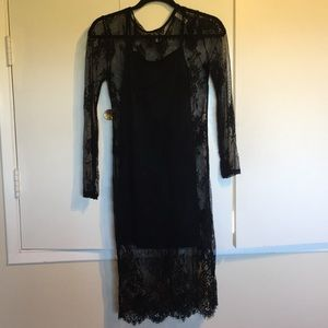 Black lace dress with black slip